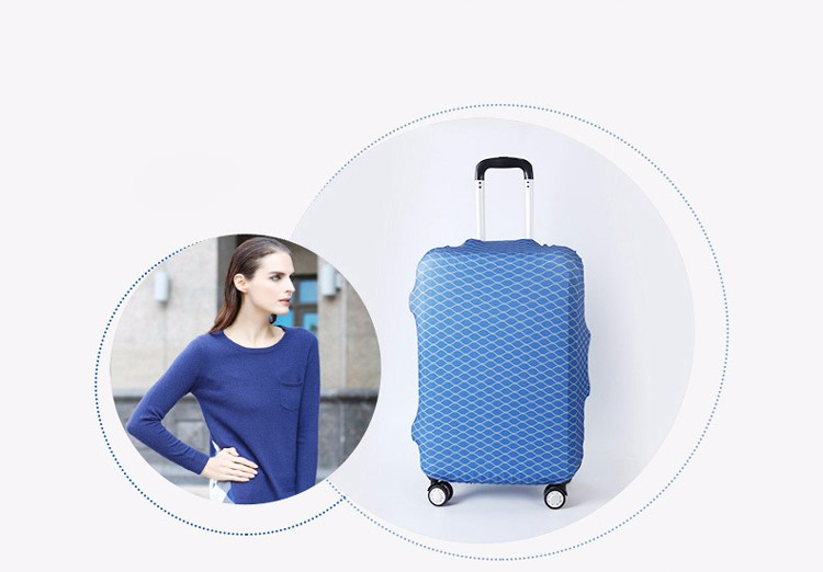 TRIPNUO Thicker Blue City Luggage Cover Travel Suitcase Protective Cover for Trunk Case Apply to 19''-32'' Suitcase Cover 28