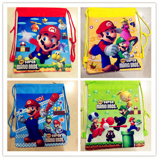 12Pcs Super Mario Bros Birthday Gift Bag For Kid Cartoon Backpack Drawstring Travel Storage Shoes