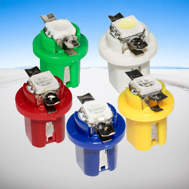 100 adet T5 B8.5D Led araba ışık enstrüman ışıkları kama ampul t5 B8.5 5050 SMD LED otomatik ölçer pano yan İç lamba 12V 100X