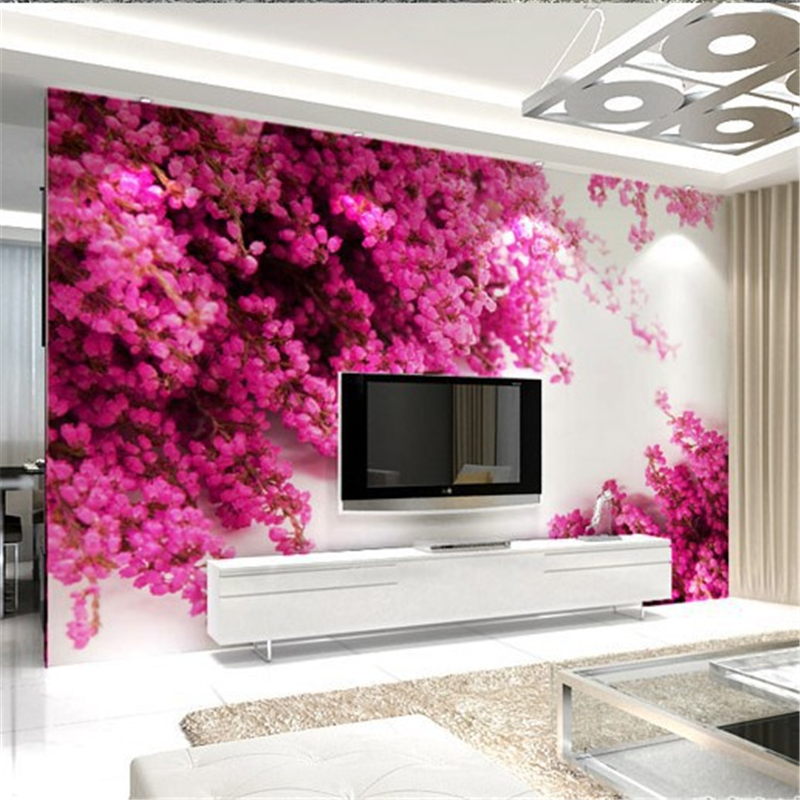 2015 custom 3d mural wallpaper large living room bedroom for Pink living room wallpaper