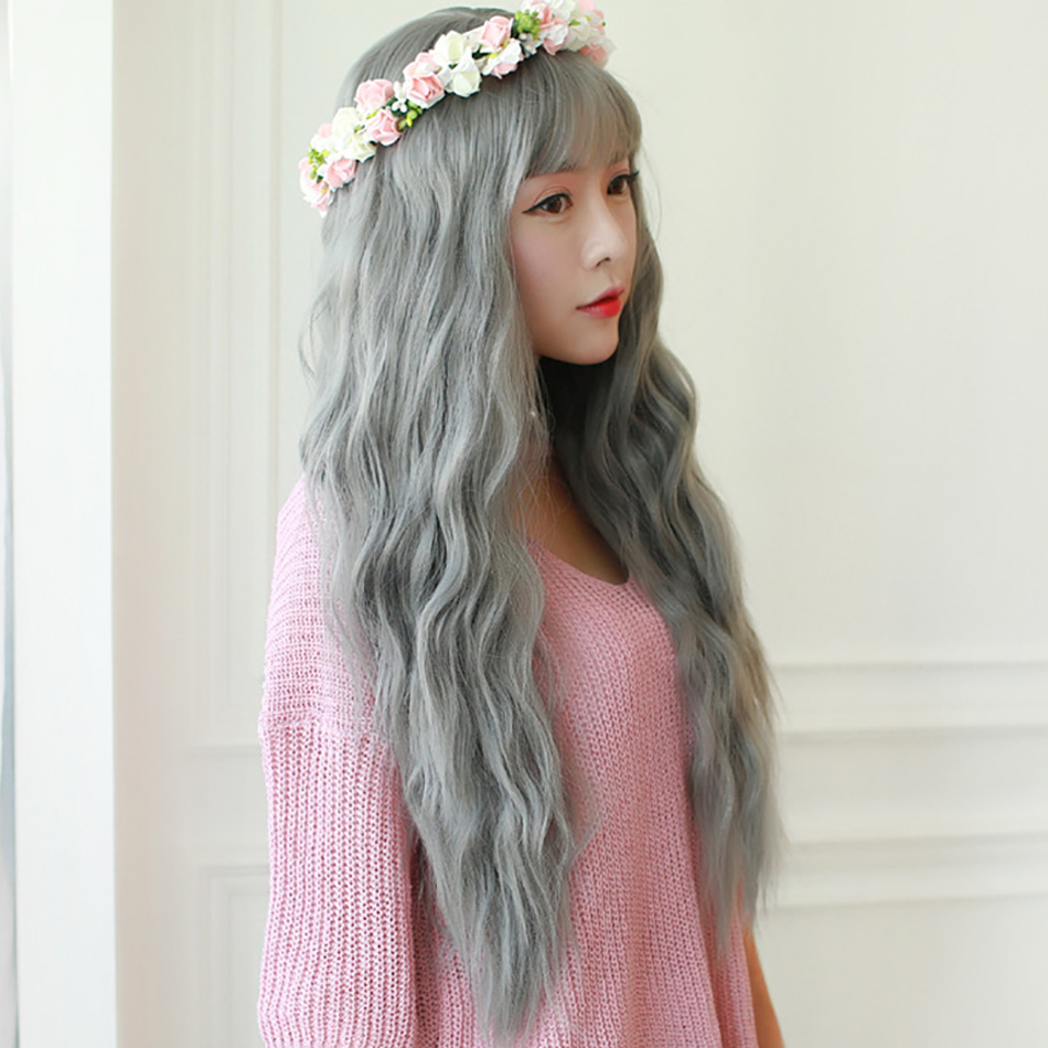 Discreet Allaosify Long Wavy Hair Wigs For Synthetic Gray Wigs For White Heat Resistant Fake Hairstyles Hair Pieces