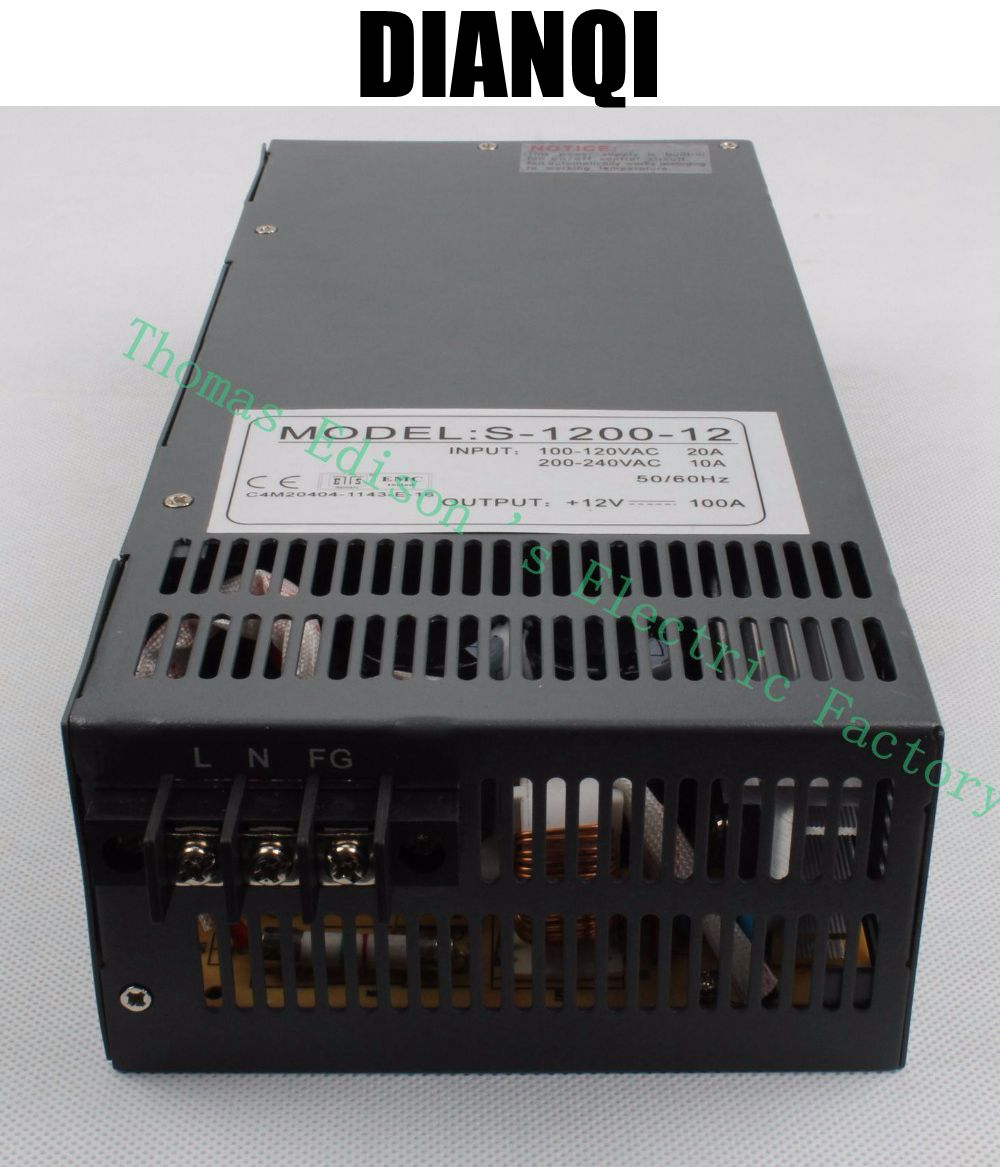 ФОТО 1200W 12V 100A Switching power supply for LED Strip light AC to DC power suply input 110v 220v 1200w S-1200-12 power supply