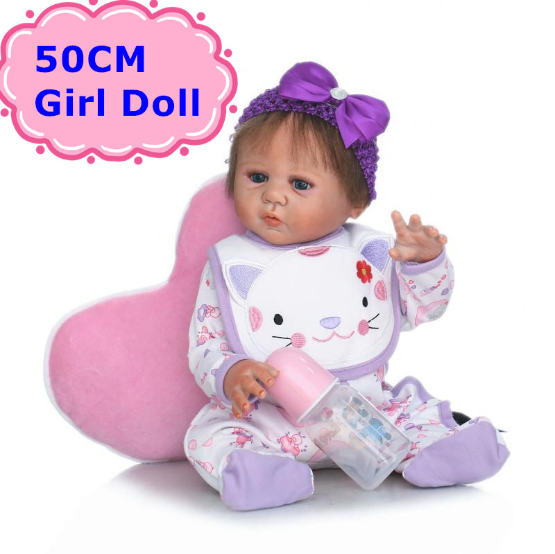 NPK New Style 50CM Full Body Silicone Reborn Baby Girl Doll Lifelike Newborn Bebe Girl Toy As Children Play House Toy Brinquedo health non toxic bebe reborn realista new born full body silicone reborn baby dolls girls lifelike doll play house toy gift doll