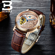 Halloween Watches Eagle Pattern Switzerland Luxury Brand Watch Automatic Mechanical Men Watches Rose Gold Dial Hand-Carved