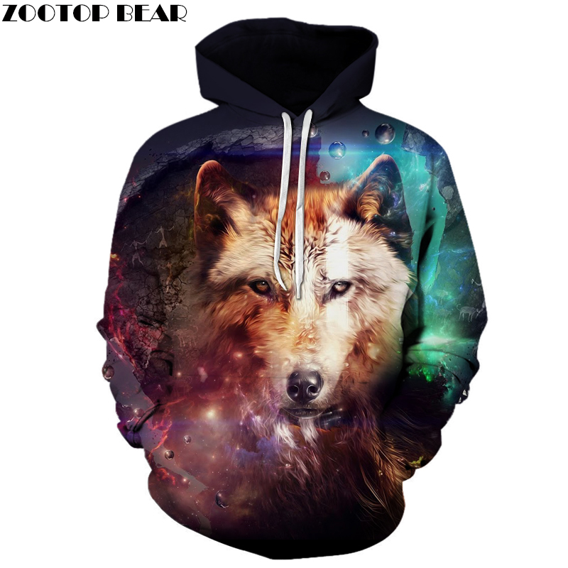 Galaxy Wolf 3D hoodies Men Sweatshirts Unisex Hoodie Brand Hooded Pullover Male Jakckets Animal Tracksuits Novelty Streetwear