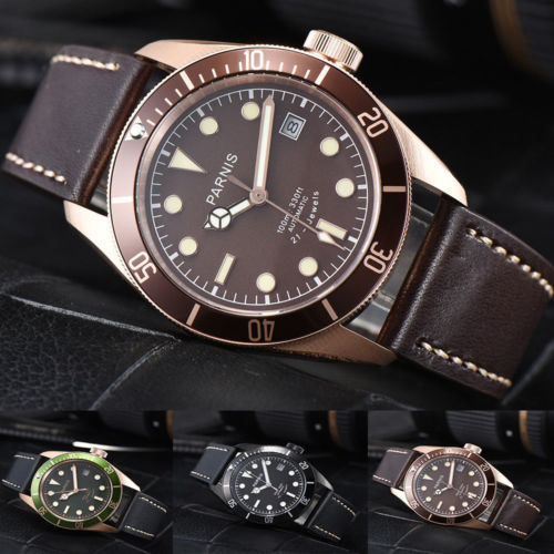 New Luxury 41mm Parnis Green Brown Black Dial Sapphire Glass Luminous Marks 21 jewels Miyota 8215 Automatic Movement Men's Watch