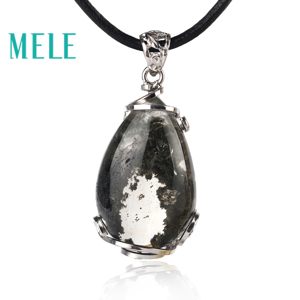 MELE natural green ghost phantom garden crystal pendant for women and man,30X18mm water drop good pervious trendy jewelry mele natural shell necklace pendant for women fashion meteor collar trendy and popular manual work handmade
