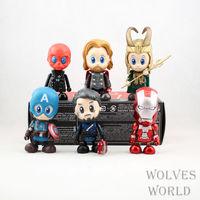 HKXZM Movie 8CM 6PCS/SET Super Heroes Q Version Iron Man Captain America Thor Loki PVC Figure Model Toys Dolls Collectible