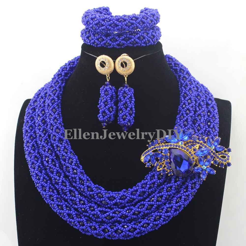 New Royal Blue African Crystal Beads Jewelry Sets nigerian Wedding beads Jewelry Set for Brides Wholesale Price W13031New Royal Blue African Crystal Beads Jewelry Sets nigerian Wedding beads Jewelry Set for Brides Wholesale Price W13031
