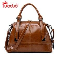 hot deal buy women shoulder bags oil wax leather luxury handbag women bags designer brand high quality ladies rivet shoulder bag sac a main