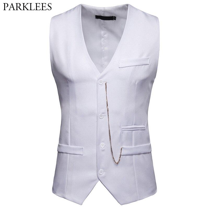 Fashion Chain Decoration White Vest Men 2019 Brand New Slim Single Breasted Suit Vest Waistcoat Men Nightclub Party Prom Vests