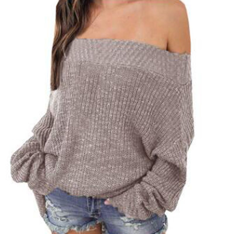 Sexy Off Shoulder Sweater Women Solid Knitting Loose Pullovers Bat Sleeve Winter Woman Slash Neck Sweaters Plus Size