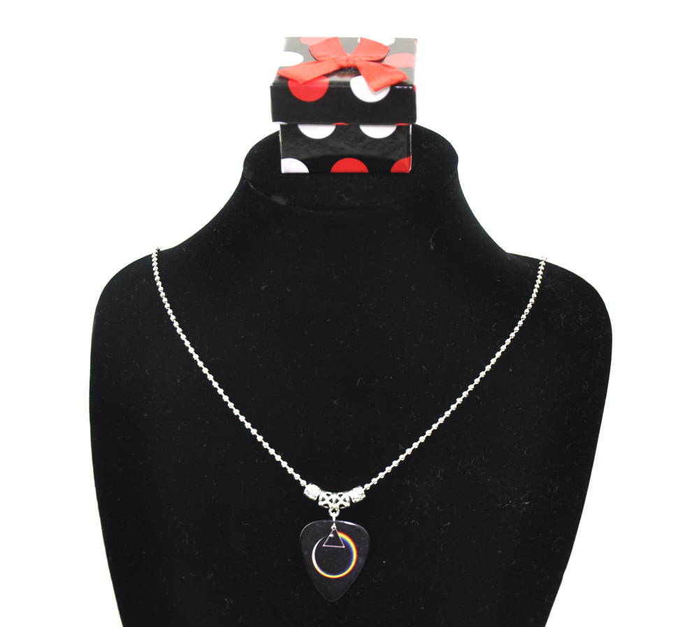 Pink Floyd Guitar Pick Tibetan Silver Necklace 2.4mm Bead Chain With Gift box P-3