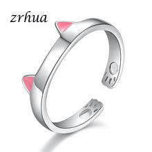 ZRHUA Top Quality 925 Sterling Silver Rings for Women Wedding Engagement Acessories Simple Cut Cat Anel Jewelry Big Promotion(China)