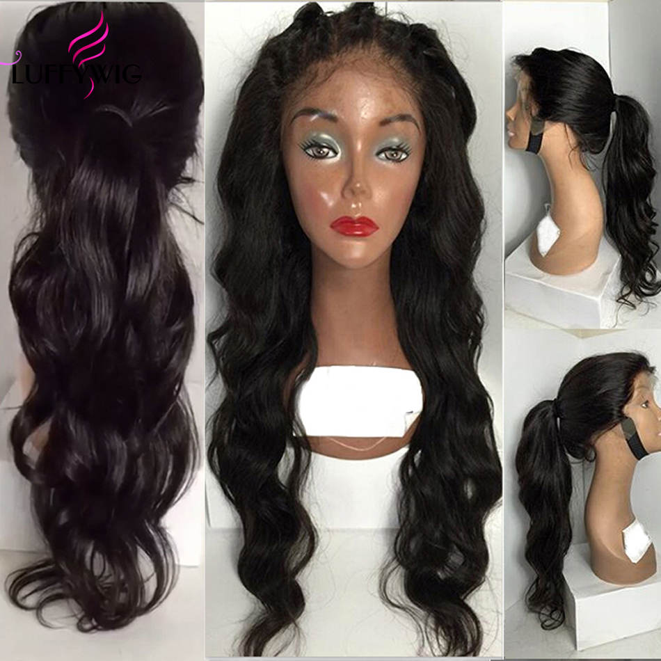 LUFFYHAIR Brazilian Remy Hair Wavy 13x6 Lace Front Wig Deep Parting Natural Black Human Hair Wigs Pre Plucked Hairline Baby Hair