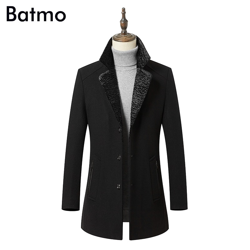 Batmo 2018 new arrival winter high quality wool smart casual trench coat men,men's winter coat ,men's jackets QH1803