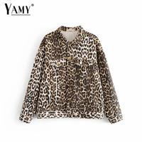 Fashion Leopard print denim jacket women fall jacket Streetwear long sleeve button jeans coat 2018 Korean women bomber jackets