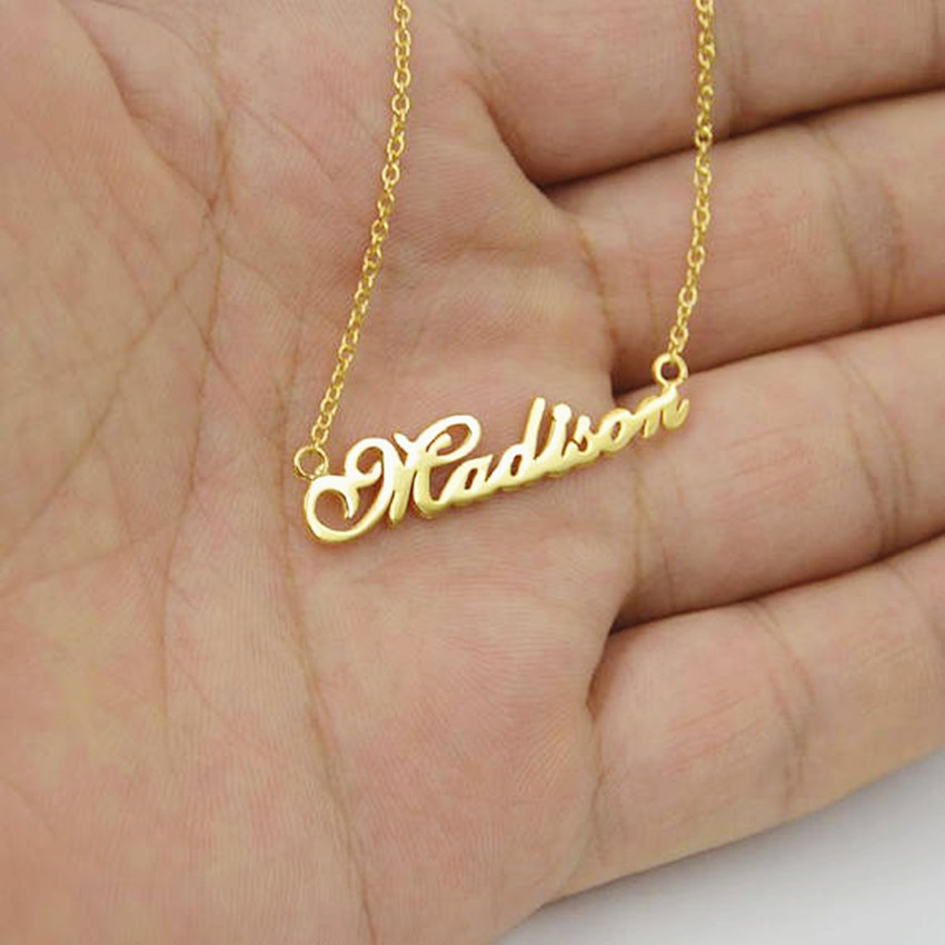 Personalized Name Pendant Necklace Customized Nameplate Choker Custom Jewelry Stainless Steel Chain Collier Femme Bridesmaid