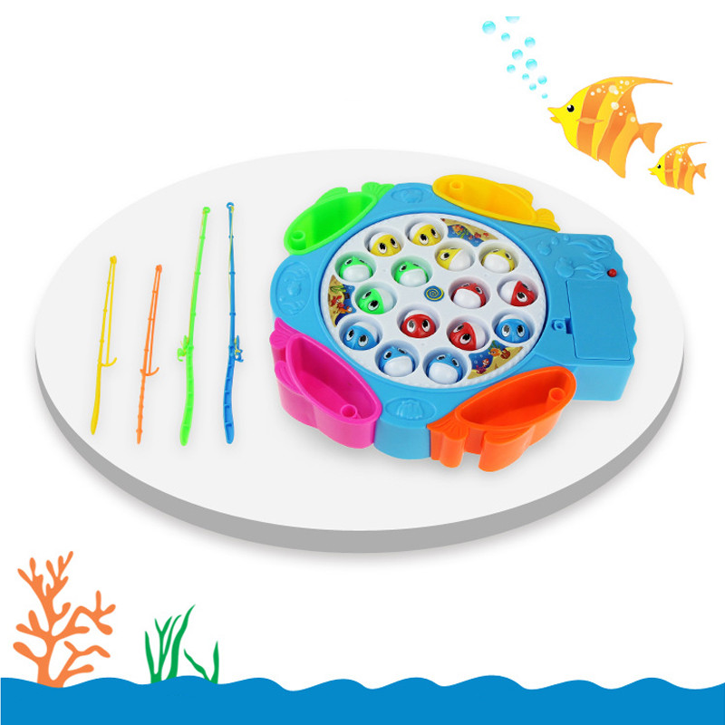 Electric Rotating Fishing Game Magnetic Outdoor Sports Toys Children Educational Toys Fishing Toys Musical Gifts For Kids