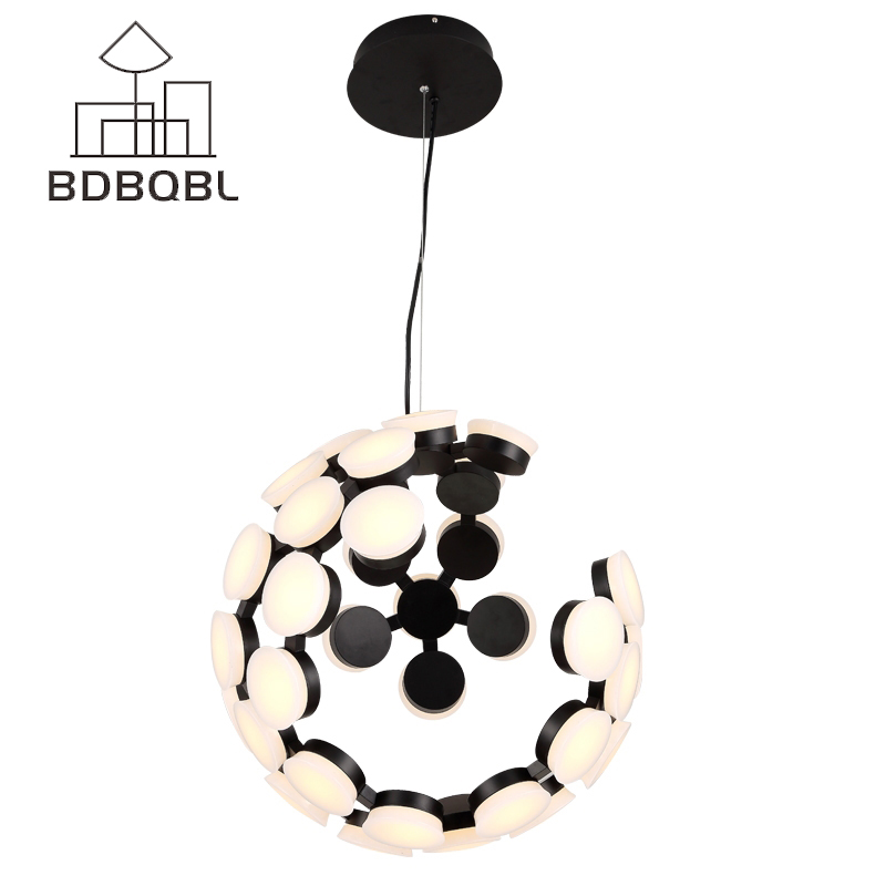 BDBQBL Nordic Modern Simple Pendant Light Restaurant Living Room Dining Room Foyer LED Pendant Lamp Lighting Fixture Black/White bdbqbl modern iron pendant light for living room bedroom foyer study hanging lights white led pendant lamp lighting fixture
