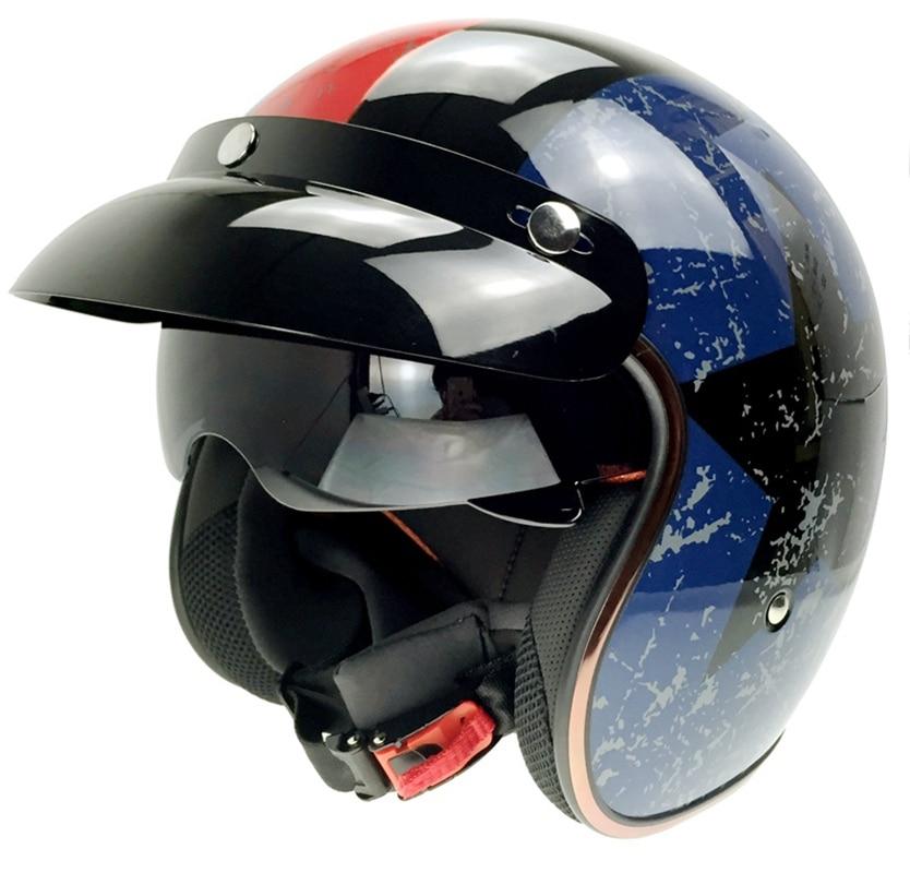 SOMAN SM510 Capacete De Cobre Da Motocicleta Com Sol Viosr Harley Cacapete Moto Old School Retro Casque