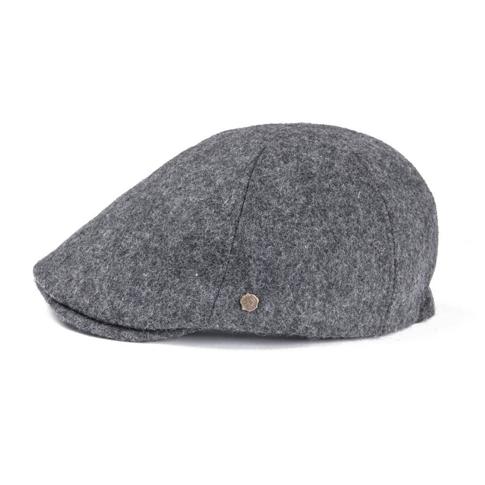 eb6b55e14d8 Woollen Tweed Mens Flat Cap Gray Retro Vintage Newsboy Caps 6 Panel Fall  Winter Warm Cabbie Driver Father Hat 183
