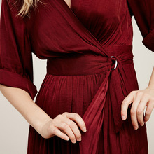 Women Dress Christmas Long Sleeve Slim Vintage Sexy Dress 2016 New Arrival Party Dresses Vestidos Wine Red