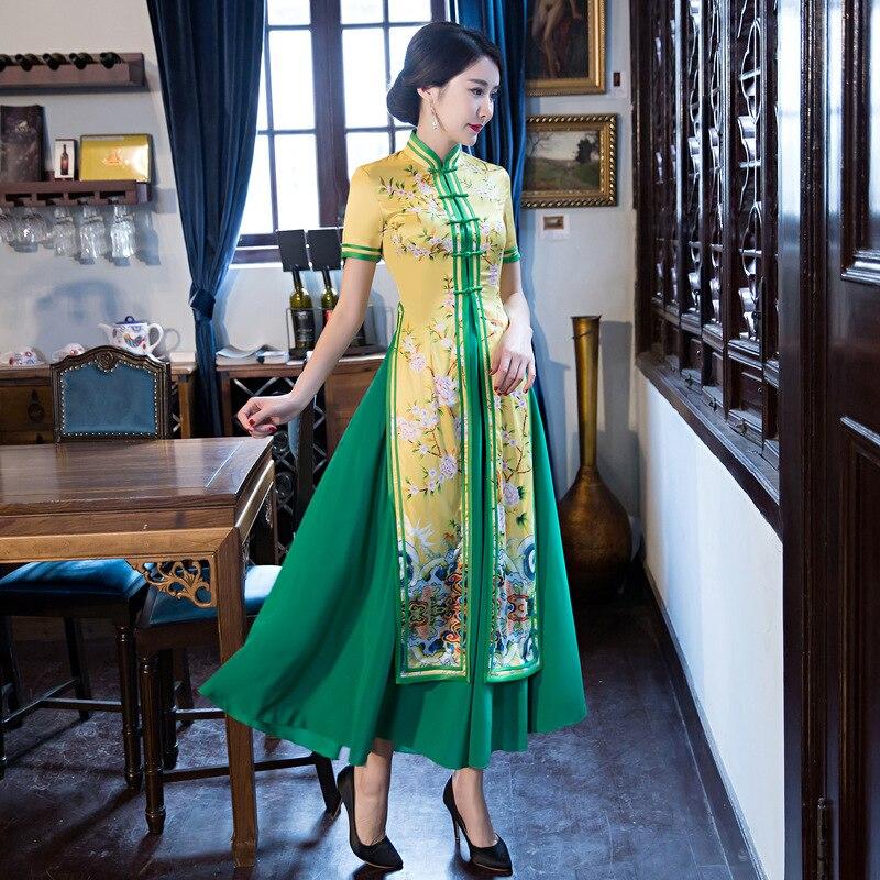 Nouvelle Arrivée Chinois Femmes Soie Robe D'été À Manches Courtes Cheongsam Sexy Longue Qipao Club Wear Plus La Taille S M L XL XXL XXXL
