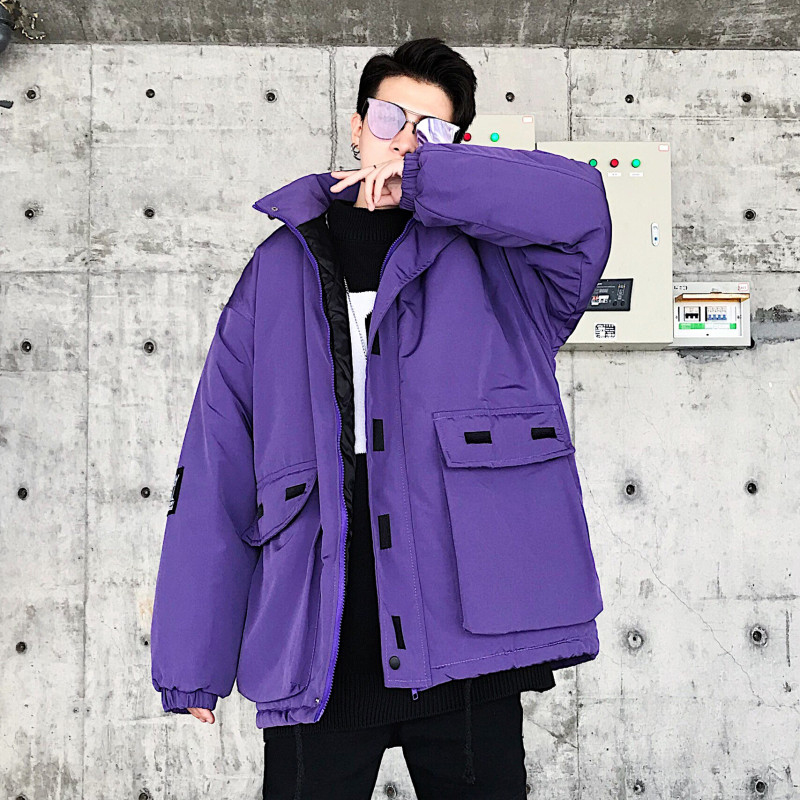 28457a0e11a04 High Street Jacket Men Winter Casual Pink Purple Parka Homme Thick ...