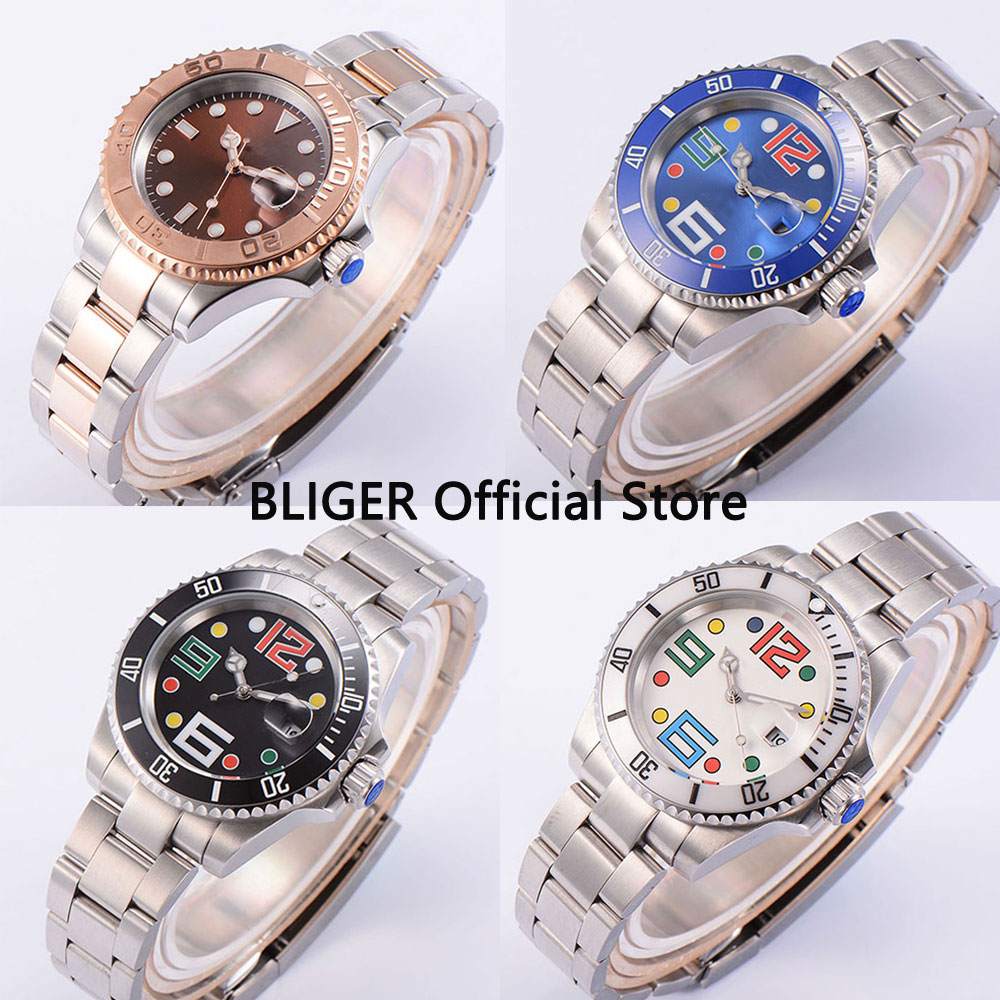 Luxury Brand BLIGER 40mm Black Sterile Dial Sapphire Crystal Luminous Marks Stainless Steel Band Automatic Movement Mens WatchLuxury Brand BLIGER 40mm Black Sterile Dial Sapphire Crystal Luminous Marks Stainless Steel Band Automatic Movement Mens Watch