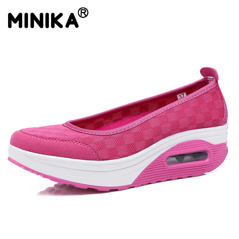 Minika Summer Women Casual Shoes Breathable Mesh Platform Lazy Wedges Swing Shoes Zapatos Mujer Chaussure Femme
