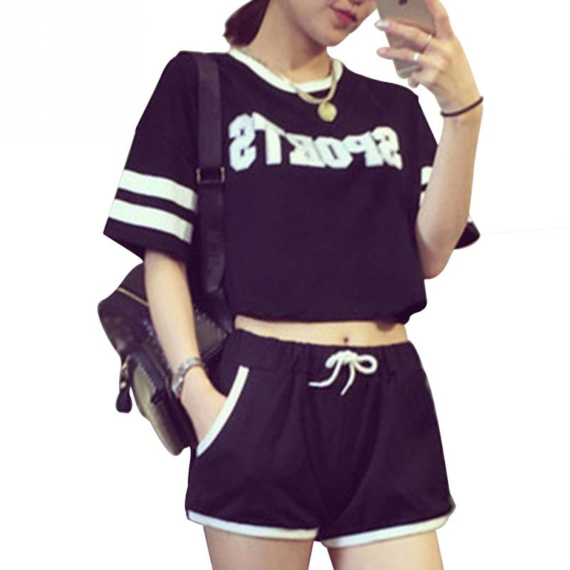 Woman Summer Milk Silk Casual Letter Pajamas Outside Wear Short Sleeve T-shirt Short Pants Set