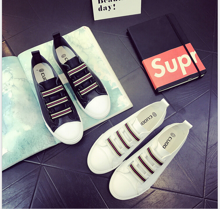 2017 Spring/summer New fashion joker leather white shoe Women Casual Shoes students flat shoes board shoes