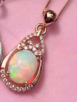 Natural Opal Pendant S925 Sterling Silver Natural Amethyst Pendant Necklace Trendy Elegant Clouds Round Women Girl