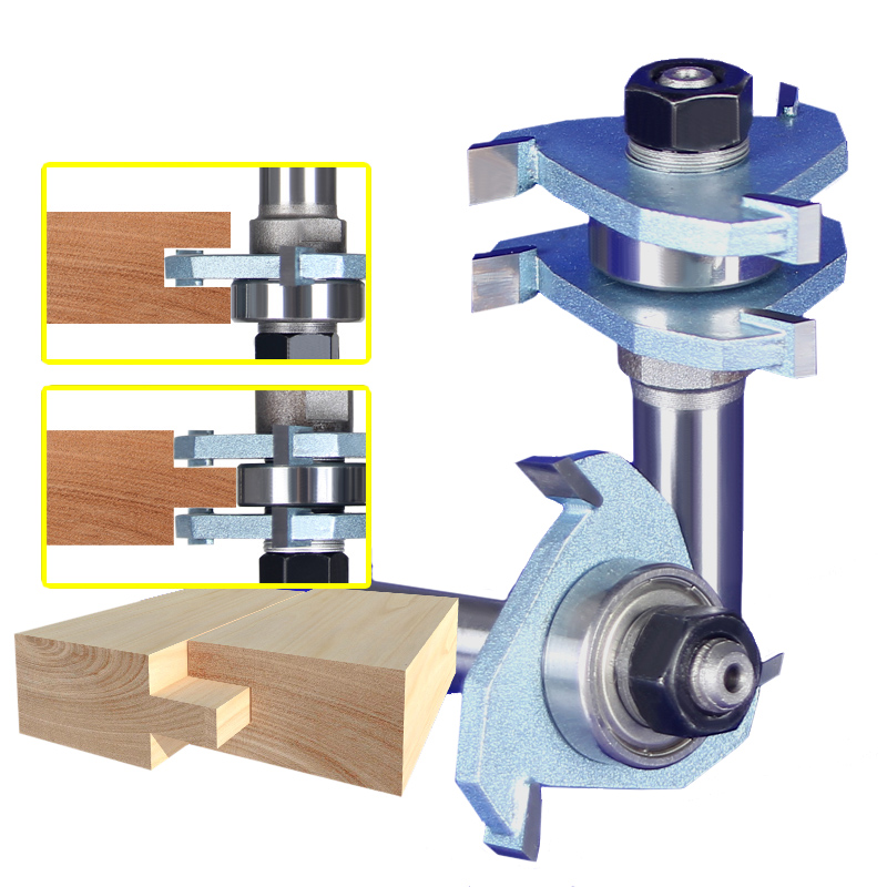 2pcs 3T T handle Rail And Stile Router Bit Wood Working Cutter High Quality 1 4