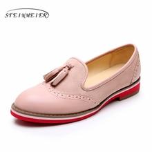 Yinzo 여성 정품 가죽 플랫 옥스포드 신발 여성 스니커즈 레이디 Brogues 빈티지 캐주얼 신발 여성을위한 신발 2020 핑크 블루