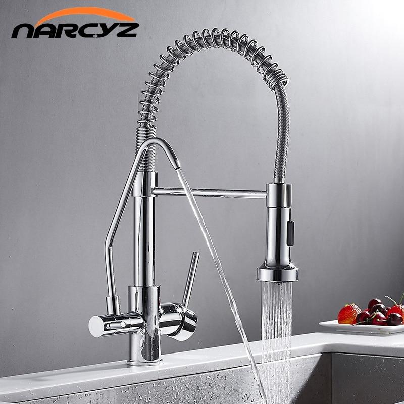 Kitchen Faucets New European Chrome Crane For Kitchen Water Filter Tap Three Ways Sink Mixer Kitchen
