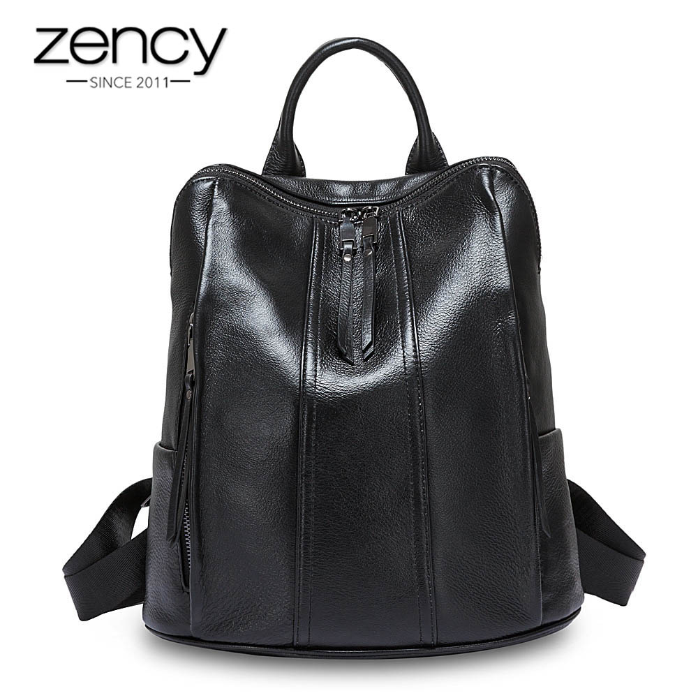 Zency 100 Real Cow Leather Fashion Women Backpack Black Simple Travel Bags Girl s Schoolbag Notebook