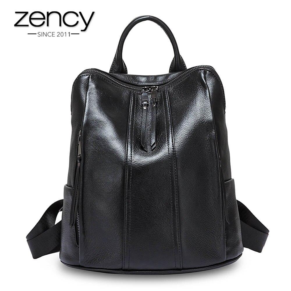 Bagaj ve Çantalar'ten Sırt Çantaları'de Zency 100% Gerçek Inek Deri Moda Kadın Sırt Çantası Siyah Basit Seyahat Çantaları kız Okul Çantası Dizüstü Tiki Tarzı Bayan Sırt Çantası'da  Grup 1