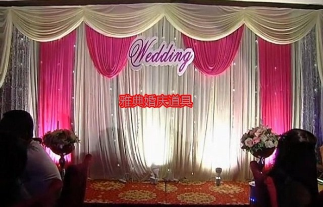 3M*6M Pink Swags Hot Sale Lilac Wedding Backdrop Stage Curtains Wedding  Decoration(China