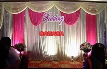 3M*6M pink Swags Hot Sale lilac Wedding Backdrop Stage Curtains wedding decoration
