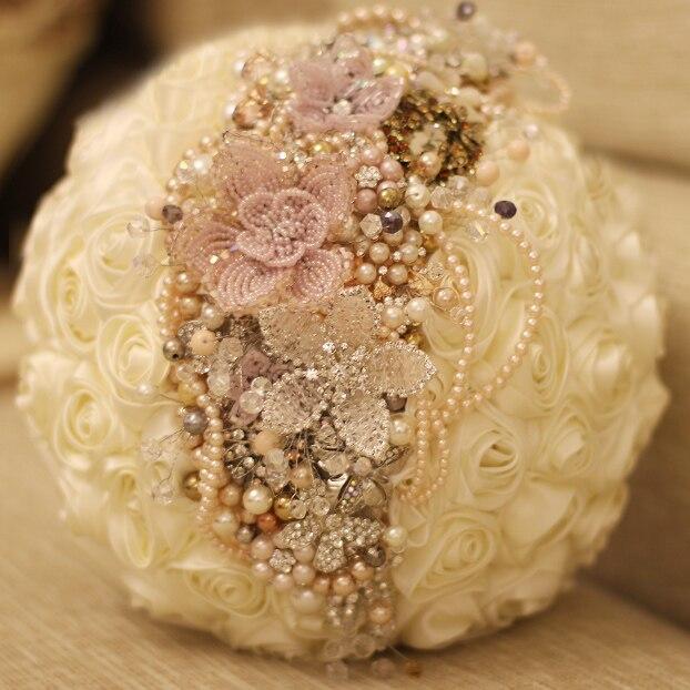 Handmade custom ivory roses brooch bouquet crystal wedding bridal ...