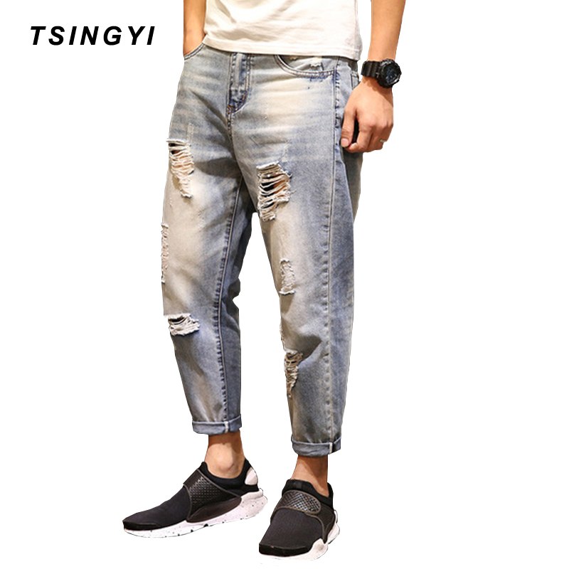 Tsingyi Destroy Wash Hole Whiten Denim Men Jeans Homme Distressed Ankle-Length Harem Pants Mens Hip Hop Streetwear Jeans Hommes