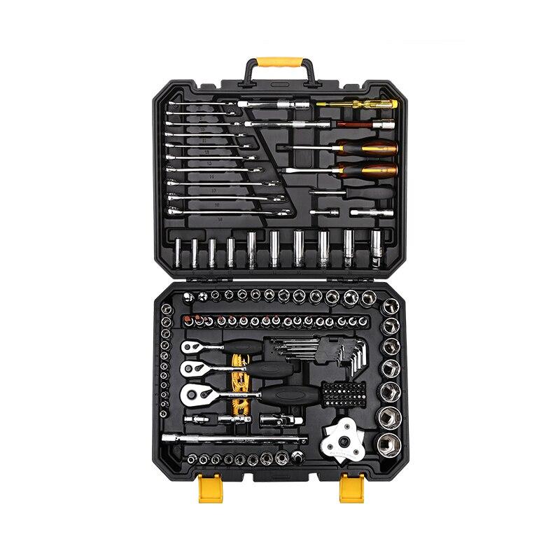DEKOPRO 140 Pcs Professional Car Repair Tool Set Auto Ratchet Spanner Screwdriver Socket Mechanics Tools Set W/ Blow Molding Box