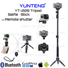 ФОТО yunteng 128for sony for samsung a7 s5 extend monopod +yunteng mini tripod+removeable remote shutter+phone holder mount+adapter