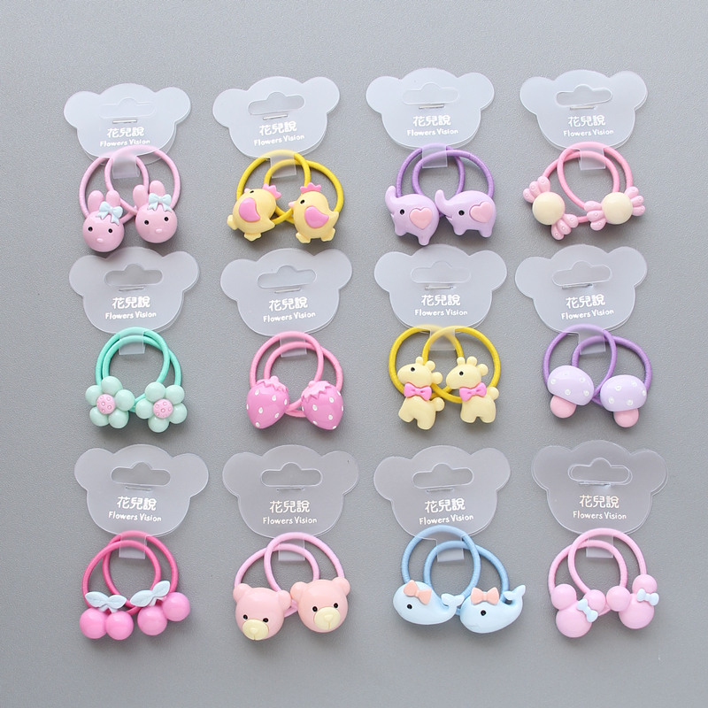 2 pieces Cute Dolphin Strawberry Princess Headwear Elastic Hair Band Girl Sparking Mini Headdress Tie Gum Ropes Hair Accessories
