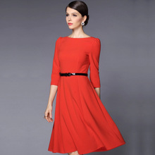 European and American Elegant Dress Three Quarter Sleeve