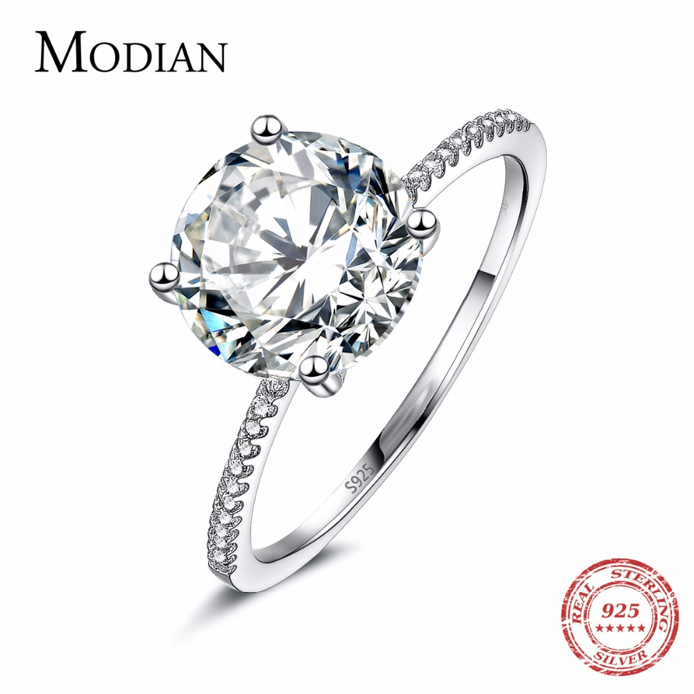 2019 Classic Luxury Real Solid 925 Sterling Silver Ring 3Ct 10 Hearts Arrows Zircon Wedding Jewelry Rings Engagement For Women