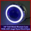 Full Metal Hella Стиле 3.0 дюйм(ов) Q5 H4 LED Angel Eyes Halo & Devil Eyes HID Биксенон Фара Объектив Проектора, использовать D2S/D2H Лампы