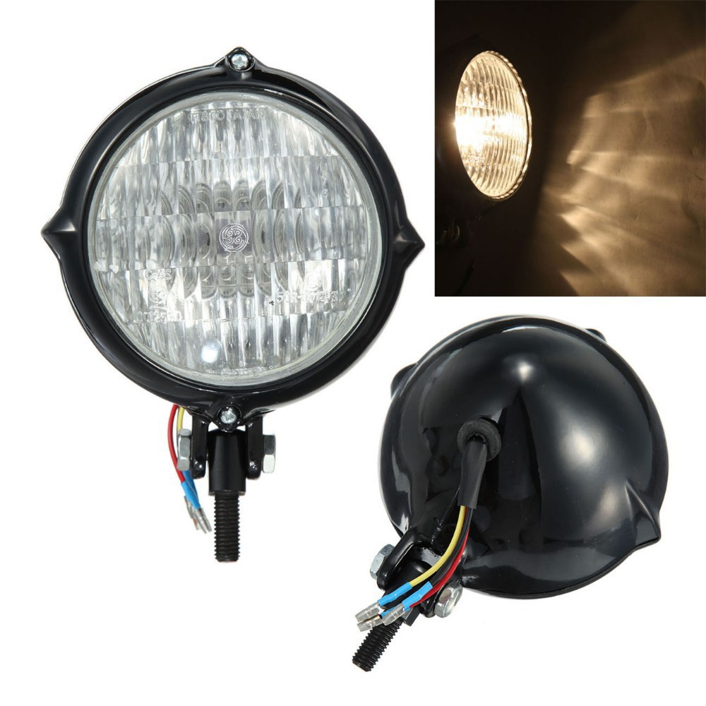 Brand New Black Round Vintage Motorcycle Headlight Lamp For Harley